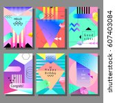 set of artistic colorful... | Shutterstock .eps vector #607403084