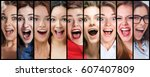 the collage of young woman...   Shutterstock . vector #607407809