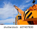 hydraulic truck crane | Shutterstock . vector #607407830