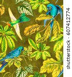 amazing seamless pattern with... | Shutterstock . vector #607412774