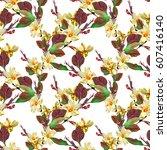 floral seamless pattern. hand... | Shutterstock . vector #607416140