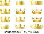 gold crown set | Shutterstock .eps vector #607416338