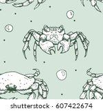 seamless pattern with crabs on... | Shutterstock .eps vector #607422674