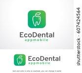 eco dental logo template vector ... | Shutterstock .eps vector #607424564