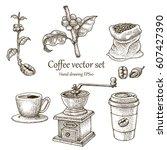 coffee vector set hand drawing... | Shutterstock .eps vector #607427390