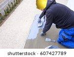 industrial worker on... | Shutterstock . vector #607427789