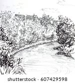 sketch of tikhvinka | Shutterstock . vector #607429598