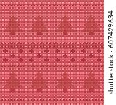 seamless knitted pattern... | Shutterstock .eps vector #607429634