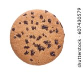 chocolate chip cookie isolated... | Shutterstock . vector #607430579