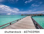 beautiful beach with water... | Shutterstock . vector #607433984
