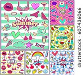 fashion summer patch badges... | Shutterstock .eps vector #607436066
