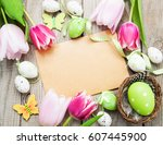 Easter Greeting Card On A Old...