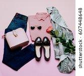 romantic clothes set. city... | Shutterstock . vector #607448648