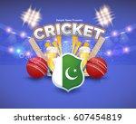 pakistan cricket poster... | Shutterstock .eps vector #607454819