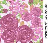 seamless floral pattern...   Shutterstock . vector #607456280