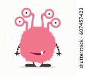 pink monster cartoon | Shutterstock .eps vector #607457423