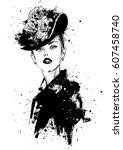 fashion girl in sketch style.... | Shutterstock . vector #607458740