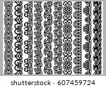 set of ten seamless endless... | Shutterstock .eps vector #607459724