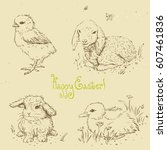 Stock vector linear vector set of animals sketches in retro style for design easter chick easter bunny baby 607461836