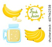 vector set of natural fresh... | Shutterstock .eps vector #607462538