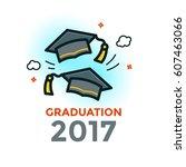 two graduation caps thrown in...   Shutterstock .eps vector #607463066