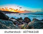 beautiful sunset on the las... | Shutterstock . vector #607466168