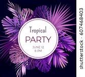 purple neon vector floral... | Shutterstock .eps vector #607468403