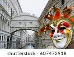 carnival of venice   bridge of... | Shutterstock . vector #607472918
