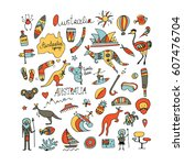 australia icons set  sketch for ... | Shutterstock .eps vector #607476704