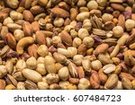 mixed dry nuts .various nuts ... | Shutterstock . vector #607484723