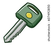 funny car key   vector. | Shutterstock .eps vector #607492850