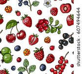 pattern berries and leaves.... | Shutterstock .eps vector #607494644