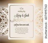 antique baroque luxury wedding... | Shutterstock .eps vector #607495763