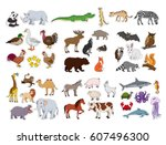 big animals set flat style... | Shutterstock .eps vector #607496300