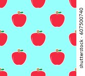 apple seamless pattern vector ... | Shutterstock .eps vector #607500740
