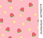 watermelon seamless pattern ... | Shutterstock .eps vector #607500779