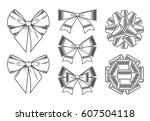 bows icons set | Shutterstock .eps vector #607504118