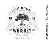 Vintage Whiskey Logo With Oak...
