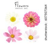 natural vector set flowers... | Shutterstock .eps vector #607507364