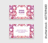 business card with beautiful... | Shutterstock .eps vector #607509680