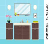 modern bathroom interior.... | Shutterstock .eps vector #607511600