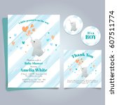 elephant baby shower theme... | Shutterstock .eps vector #607511774