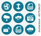 set of 9 download filled icons... | Shutterstock .eps vector #607518620