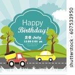 happy birthday invitation card | Shutterstock .eps vector #607533950