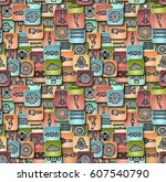 seamless pattern consisting of... | Shutterstock .eps vector #607540790