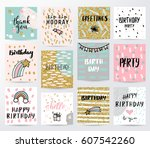 abstract happy birthday... | Shutterstock .eps vector #607542260