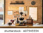 siphon vacuum coffee maker on... | Shutterstock . vector #607545554