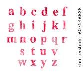 alphabet set drawn watercolor... | Shutterstock .eps vector #607546838
