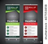 roll up brochure flyer banner... | Shutterstock .eps vector #607553858