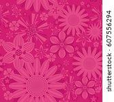 seamless vintage flower pattern ...   Shutterstock .eps vector #607556294